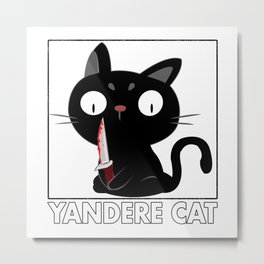 Yandere Cat Anime Cosplay Metal Print