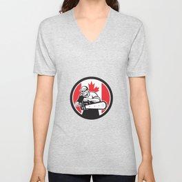 Canadian Tree Surgeon Chainsaw Canada Flag Unisex V-Neck