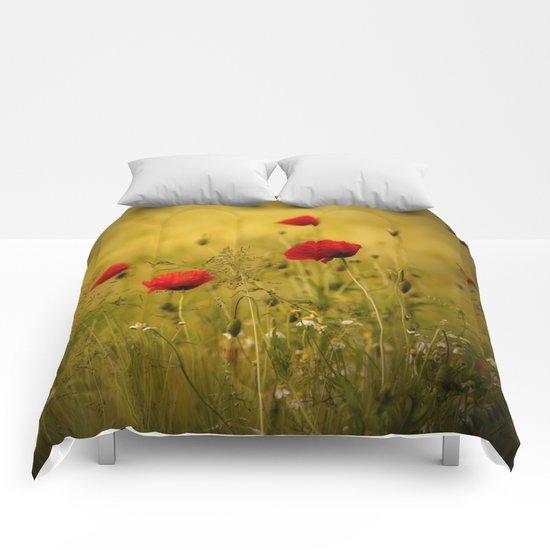 Poppy-field Poppies Flowers Flower Comforters