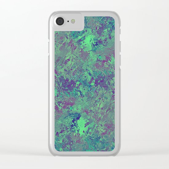 Cool And Calm - Abstract blue and purple painting, icy, chilled out, calming, relaxing artwork Clear iPhone Case