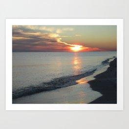 Winter Beach Sunset Art Print