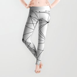 White Geometric Dots and Lines Leggings