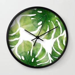 Monstera watercolor I Wall Clock