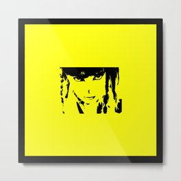 Abstract Yellow and Black Dani Metal Print