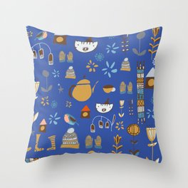 hygge cat and bird blue Throw Pillow