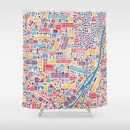Munich City Map Poster Shower Curtain