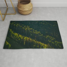 Aerial View OF Green Forest Tall Trees Rug
