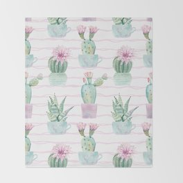 Simply Echeveria Cactus on Desert Rose Pink Wavy Lines Throw Blanket