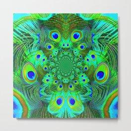 Ornate Green-Gold-Purple Peacock Feathers Art Metal Print