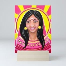 Indian Woman and the Sun - Acrylic Portrait Painting Mini Art Print