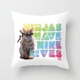 Ninjas Have Nine Lives Throw Pillow