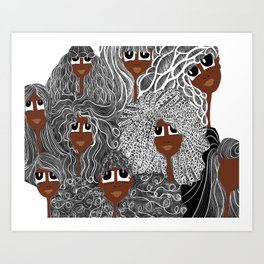 Face and Hair Art Print