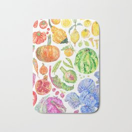 Rainbow of Fruits and Vegetables Bath Mat