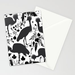 Black crowned crane with grass and flowers black silhouette Stationery Cards