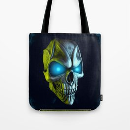 Skull with glowing blue eyes Tote Bag
