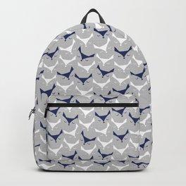 Cat alert // grey linen texture background Backpack