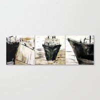 ship Canvas Prints featuring ship by woman