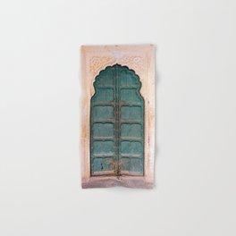Antique door in India - Teal door, peach wall Hand & Bath Towel
