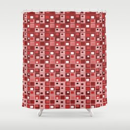 Retro Mid Century Modern Salmon Red Square Pattern Shower Curtain