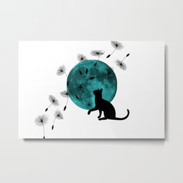 Turquoise Moon black Cat dandelions Metal Print