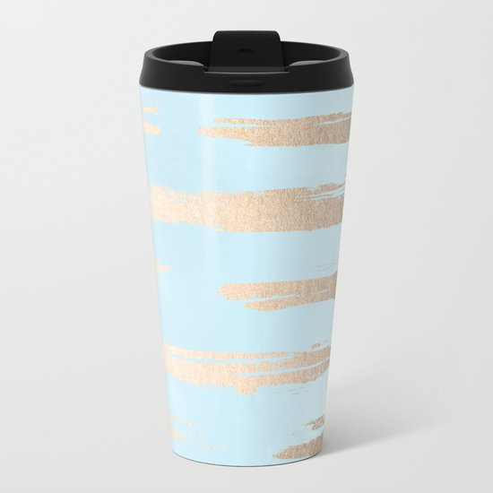 Abstract Paint Stripes Gold Tropical Ocean Sea Turquoise Metal Travel Mug