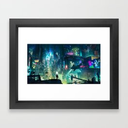 Cyberpunk City Framed Art Print