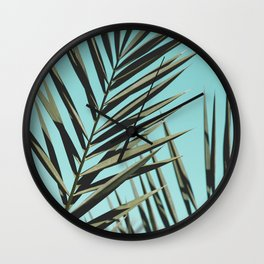 Palm leaf, Tropical, Blue, Green, Nature, Modern art, Art, Minimal, Wall art Wall Clock