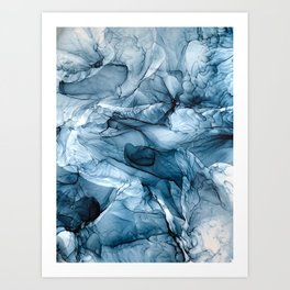 Churning Blue Ocean Waves Abstract Painting Art Print