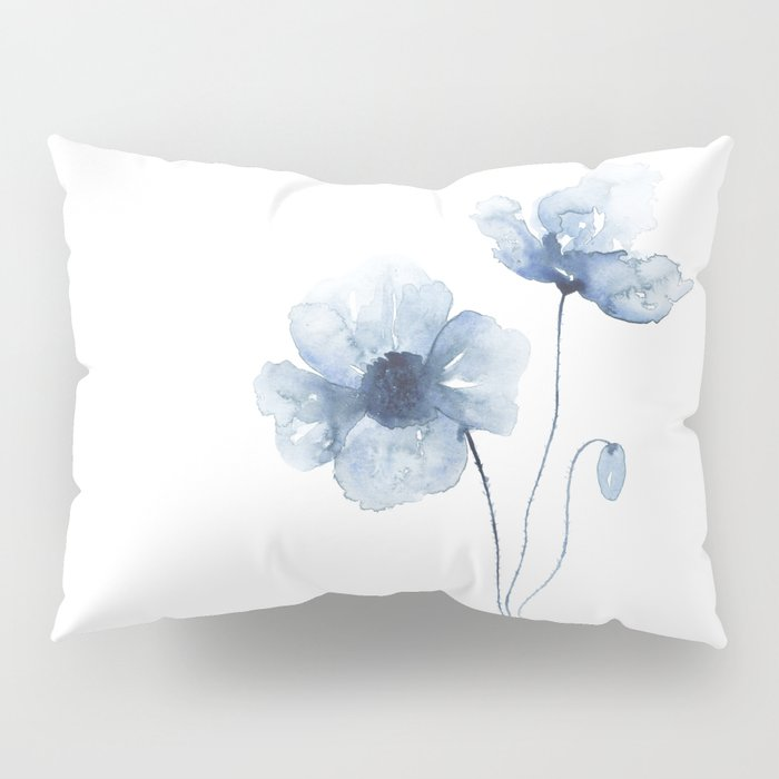 Blue Watercolor Poppies Pillow Sham