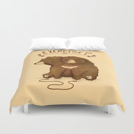 Fitness Bear by Devon Baker Duvet Cover
