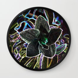 Fancy Prismatic Neon Colors Flower Blossom Wall Clock