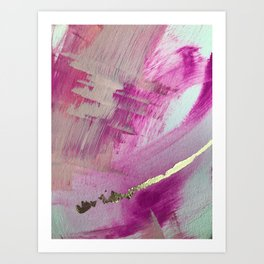 Starburst: a colorful, minimal abstract mixed-media piece in pinks and gold by Alyssa Hamilton Art Art Print