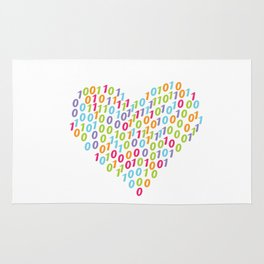 Binary Heart Colorful Rug