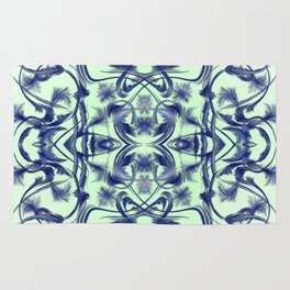 blue in blue Digital pattern with circles and fractals artfully colored design for house and fashion Rug
