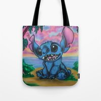 stitch Tote Bags featuring Stitch by spiderdave7