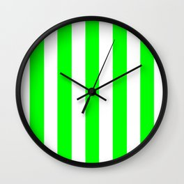 Lime (web) (X11 green) - solid color - white vertical lines pattern Wall Clock