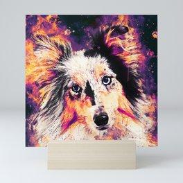 border collie dog 5 portrait wslsh Mini Art Print