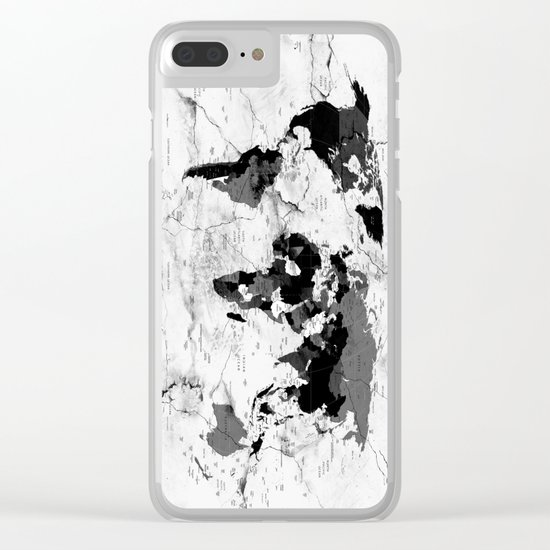 world map political marble Clear iPhone Case