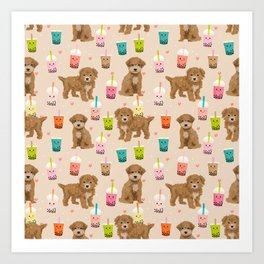 Bishpoo bubble tea kawaii food dog breed pet friendly pet portrait patterns Art Print