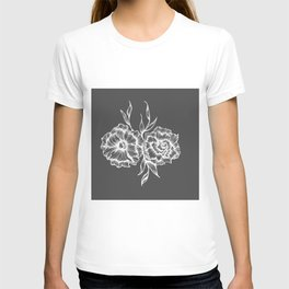 two white ink flowers T-shirt