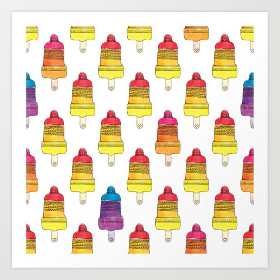 Summer aztec popsicle watercolor illustration pattern Art Print