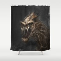 teeth Shower Curtains featuring Teeth by Anne the Viking