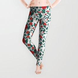 Pattern-red camellia Leggings