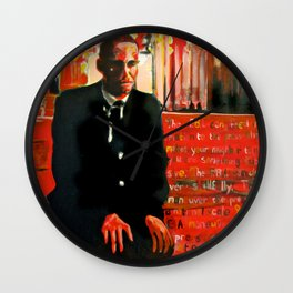 Malcolm X - On bended knee Portrait by Scott Richard Wall Clock