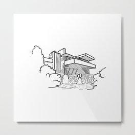 FLW - Falling water Sketch (B) Metal Print