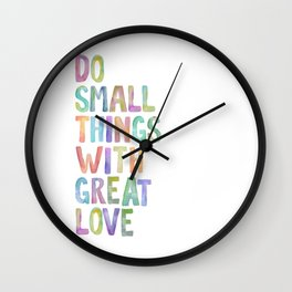 Do Small Things With Great Love, Mother Teresa Print, Mother Teresa Quote, Floral Quotes Wall Art, I Wall Clock