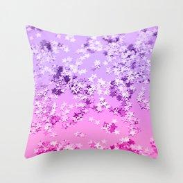 Pink Purple Glitter Stars #1 #shiny #decor #art #society6 Throw Pillow