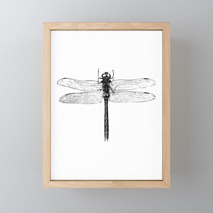 Vintage Dragonfly | Black and White | Framed Mini Art Print