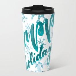 Happy Holidays - teal Travel Mug