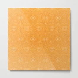 N81 - Yellow Antique Geometric Traditional Islamic Moroccan Alhambra Design. Metal Print